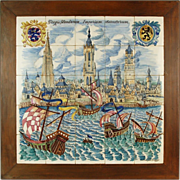 "1958 Belgian Tile Picture ""Bruges Flanders Emporium of Merchants"" Kellner Jan"