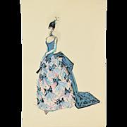 Andre Delfau Ballet Dancer Elegant Blue Dress Victorian Costume Original Painting