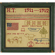 1912 American Needlepoint Sampler Merry Christmas American Flag Cats & Dog