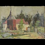 Vintage 1952 Impressionist Oil Painting Bramult Church Boras Sweden by Svennow