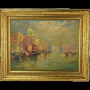 1930's Venice Oil Painting Santa Maria della Salute Domes on Grand Canal  Gottersdanker