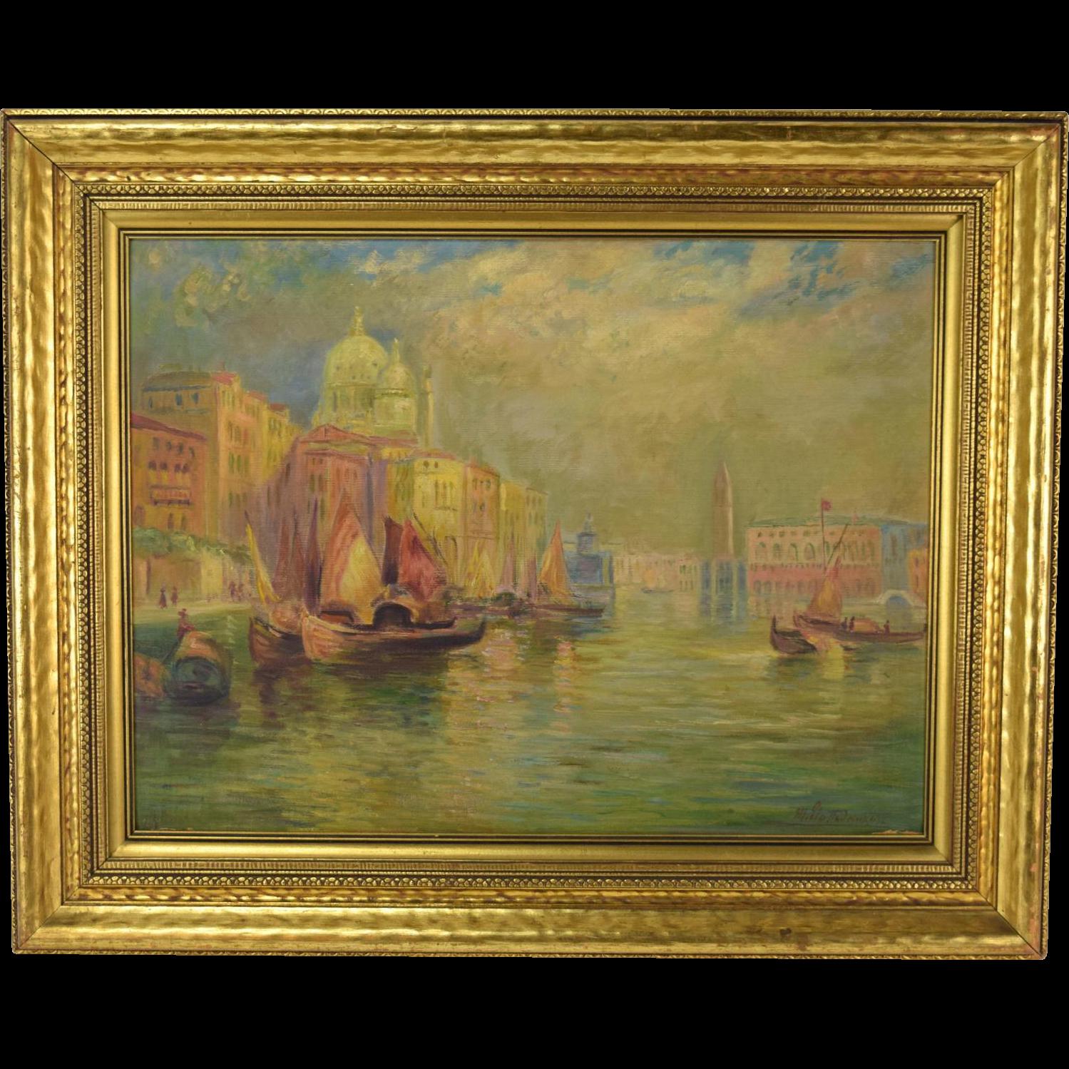 1930 S Venice Oil Painting Santa Maria Della Salute Domes