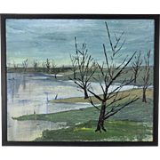 1974 Modernist Oil Painting Abstract Landscape with Trees Signed Ames