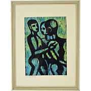 Mid-Century Modern Abstract Woodcut Print Three Nude Men signed Beauchamp