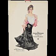 Original Antique 1910 Kalamazoo Petticoats & Undermusling Advertising Window Card
