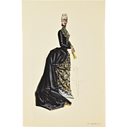 Andre Delfau La Duchesse Double Sided Original Costume Fashion Design painting