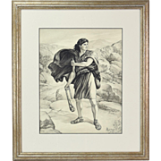 Vintage David with Sling Shot Awaiting Goliath Original Ink Wash Pencil Drawing