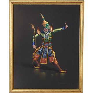Vintage 1950's Gouache Painting Masked Khon Thai Dancer by Wathana