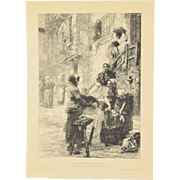 Leon Augustin Lhermitte Etching Washerwoman Lavandieres A Saint Malo