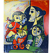 "Vintage Abstract ""Mother and Child"" Enamel on Metal Wall Sculpture after Picasso"