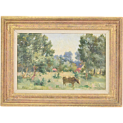 Belgian Impressionist Oil Painting Pastoral Landscape Scene with Cow