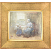 """Frits Jansen Dutch Painting """"The Sewing Lesson"""" Tranquil Scene Mother & Child"""