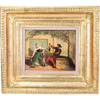 19th Century Oil Painting Father Entertaining Son with Patin Puppet Victor Nehlig