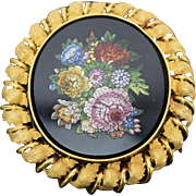 Large Victorian era Floral Micromosaic Brooch Pendant in Solid 14k Gold Frame