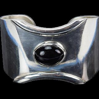Vintage Mexican Modernist Sterling Silver Heavy Cuff Bracelet w Onyx Cabochon