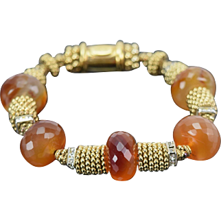 Vintage Robin Rocke Bracelet w Faceted Carnelian Beads Rhinestones Gold Beads