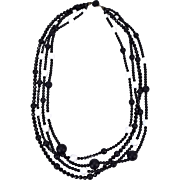 Vintage 1980's Stephen Dweck Black & White Graduated Faceted Onyx Bead Necklace