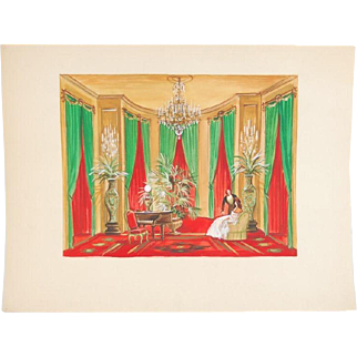 Andre Delfau Original Gouache Painting Stage Set Design Baby Grand Piano