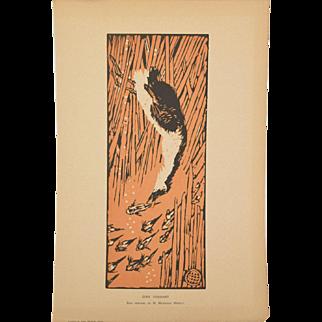 MATHURIN MEHEUT Gode Chassant 1913 Wood engraving