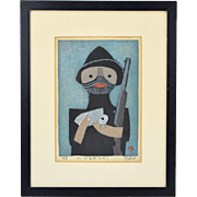 Umetaro Azechi Mid-Century Modern Japanese Woodblock Print Rabbit Hunter w Rifle
