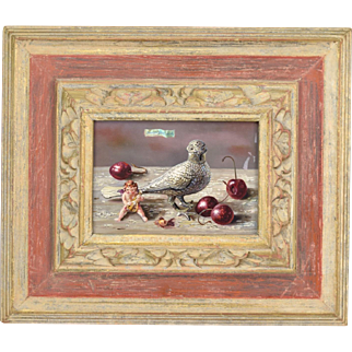 "Aaron Bohrod ""Bird and Cherries"" Oil Painting on Gesso Board"