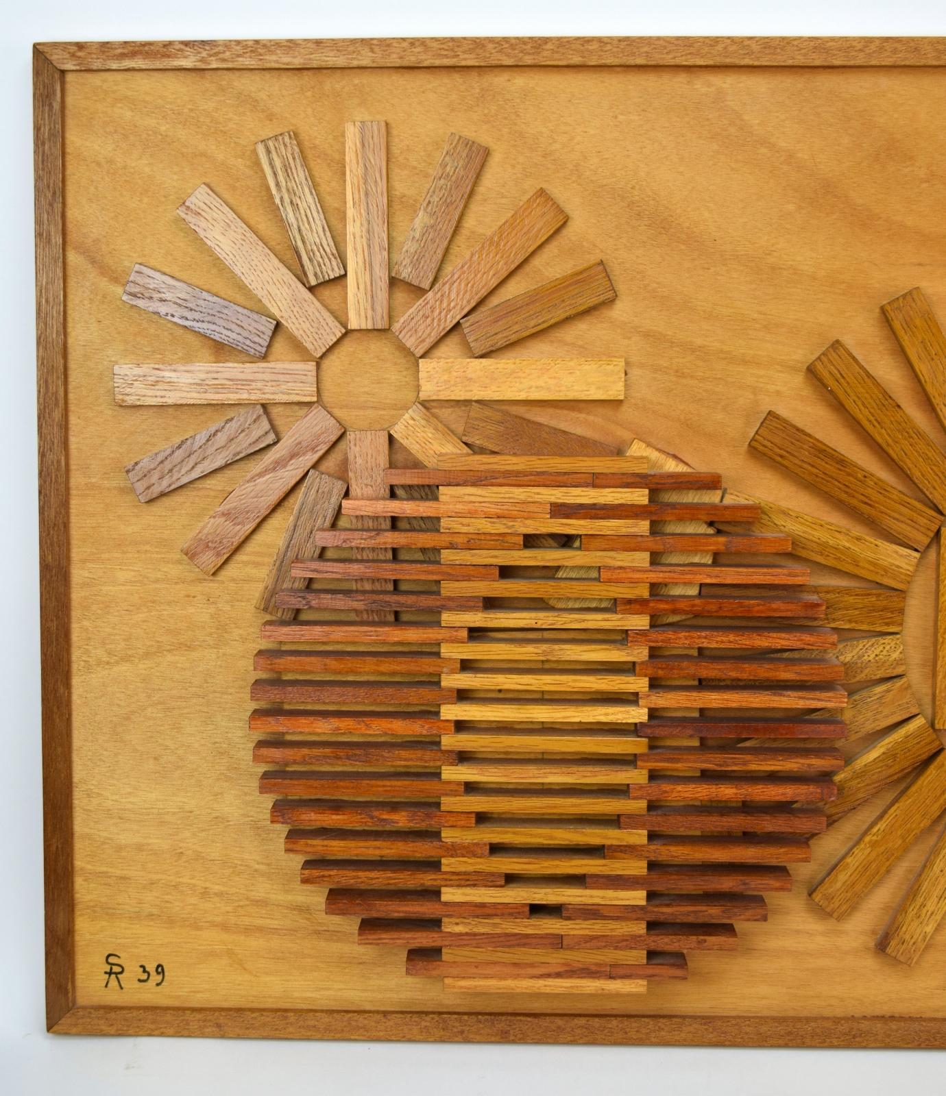Oak Wood Block : Depression era geometric oak wood block sculpture