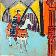 Vintage Mid-Century Harris Strong Ceramic Tile Medieval Rider Horseback