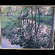 Impressionist Oil Painting Trees Reflected on Water Judi Ekholm Door County Wisconsin Artist