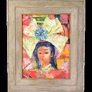 Mid-Century Modern Oil Painting Asian Girl w Headdress Leighton Chicago artist