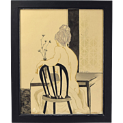 Vintage Mid-Century Painting Nude Woman at Table Leighton Chicago artist