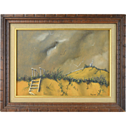Sidney Rafilson Vintage Mid-Century Oil Painting Beach Dunes w Figure Chicago Artist