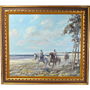 "Impressionist Equestrian Oil Painting ""Riders on the Shore"" Hans Jorg Wagner Germany"