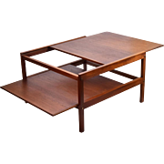 Vintage Mid-Century Danish Modern Teak Sliding Top and Shelf Coffee Cocktail Table