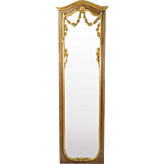 Vintage Italian Gilt Wood Full Length Wall Mirror w Floral Swags