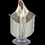 "Erte ""Beloved"" Bronze Sculpture Art Deco Woman with Chain Mail Cape sgnd L/E"