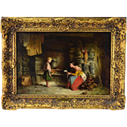 1872 Richard Stanton Staunton Cahill Irish Genre Oil Painting The Letter Home