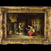 1872 Richard Stanton Staunton Cahill Irish Genre Oil Painting The Letter Home