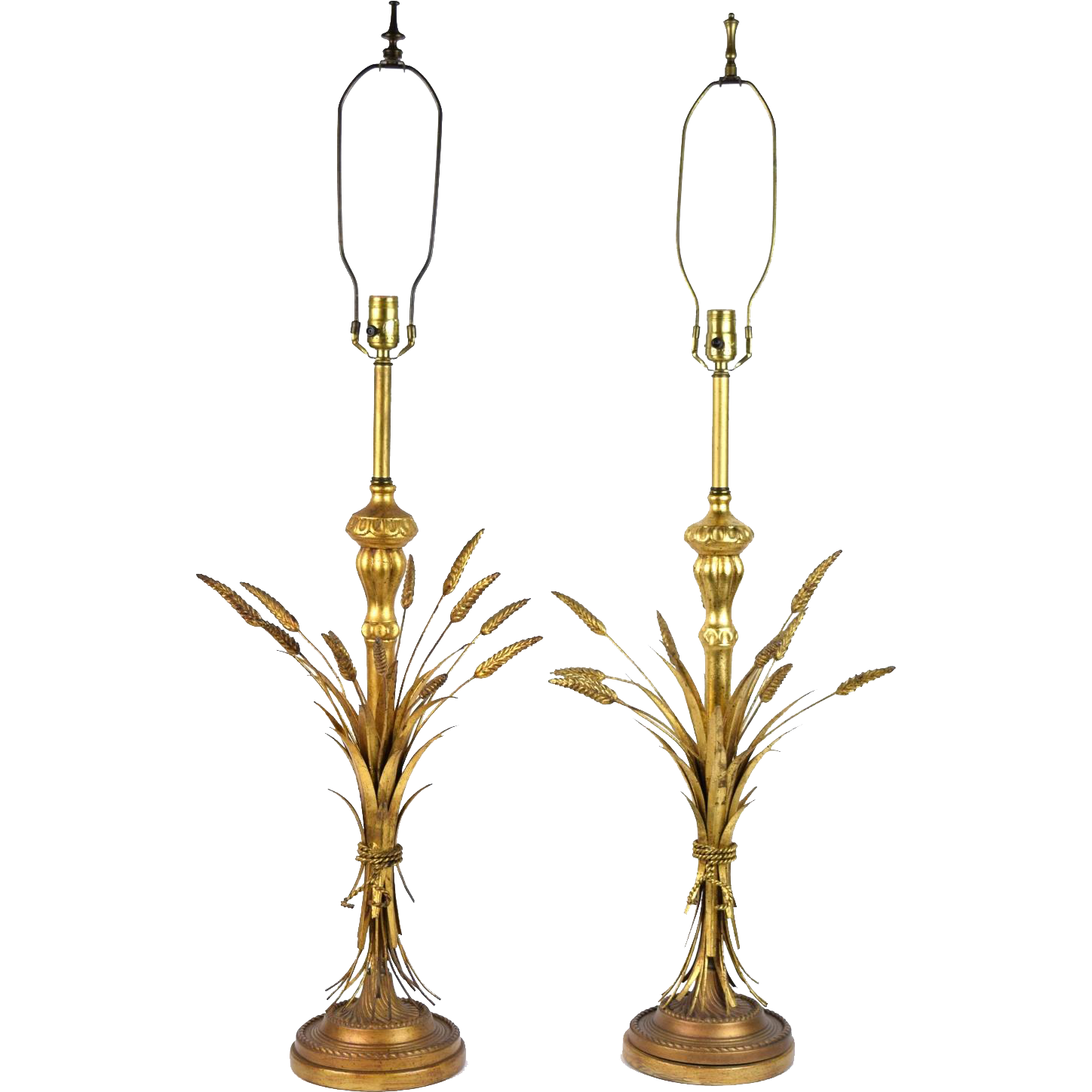 Vintage Mid Century Modern Pair Frederick Cooper Gilt Wheat Sheaf Table Lamps
