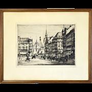 """1920 Etching """"Marienplatz, Munich"""" Architecture Horse Carriages Paul Geissler German"""
