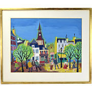 French 1950's Folksy Painting Streetscene Townspeople Vintage Clothing Maurice Blanchard