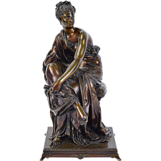 Antique Bronze Sculpture Classical Woman Scholar in Robes w Crown of Stars