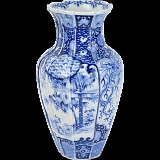 Meiji Hand Painted Blue & White Japanese Porcelain Paneled Vase