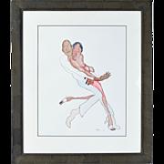 Jules Feiffer Original Watercolor Painting African-American Couple Dancing