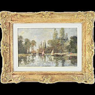 John Hammond Harwood English Impressionist Oil Painting Sailboats in Lagoon