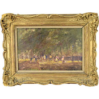 Impressionist Oil Painting Dogwalkers in Park Attrib to John Hammond Harwood