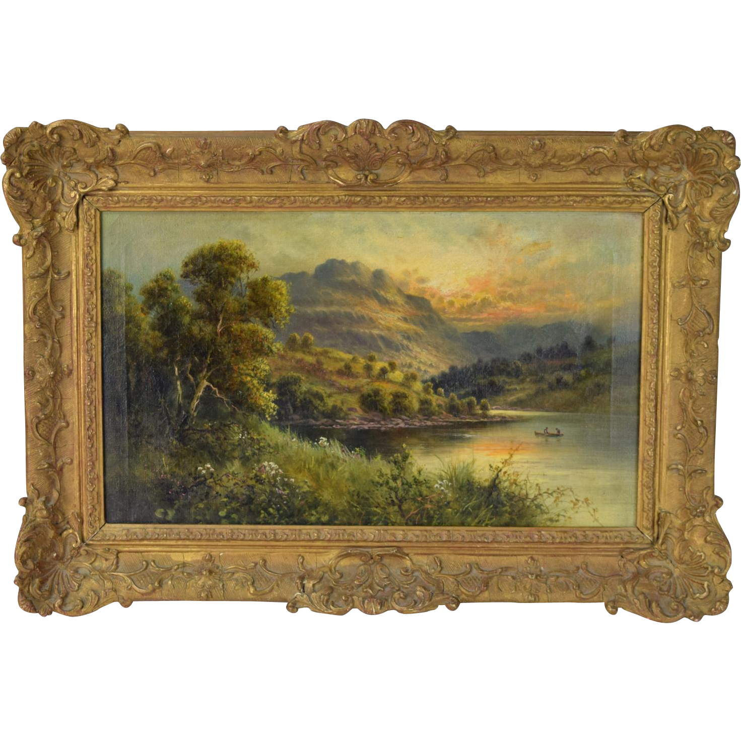 19th century Oil Painting Welsh Landscape w Canoe Paddlers signed Frank Hider