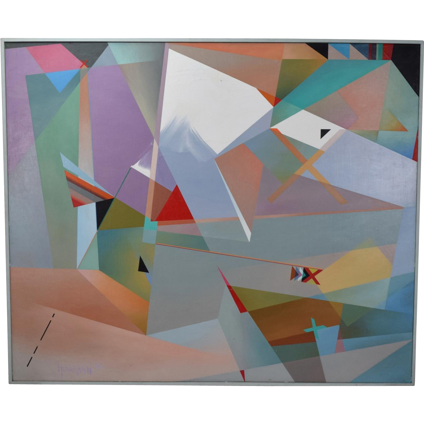 Huge 1980's Geometric Abstract Oil Painting Dina Herrmann New York Artist