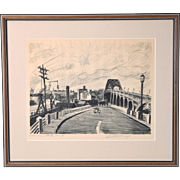 """1940's Industrial Cleveland Ohio Etching """"Columbus Road Ramp"""" Martin Linsey"""