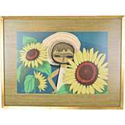Mid-Century Shuzo Ikeda Japanese Woodblock Print Big-Eyed Girl w Sunflowers