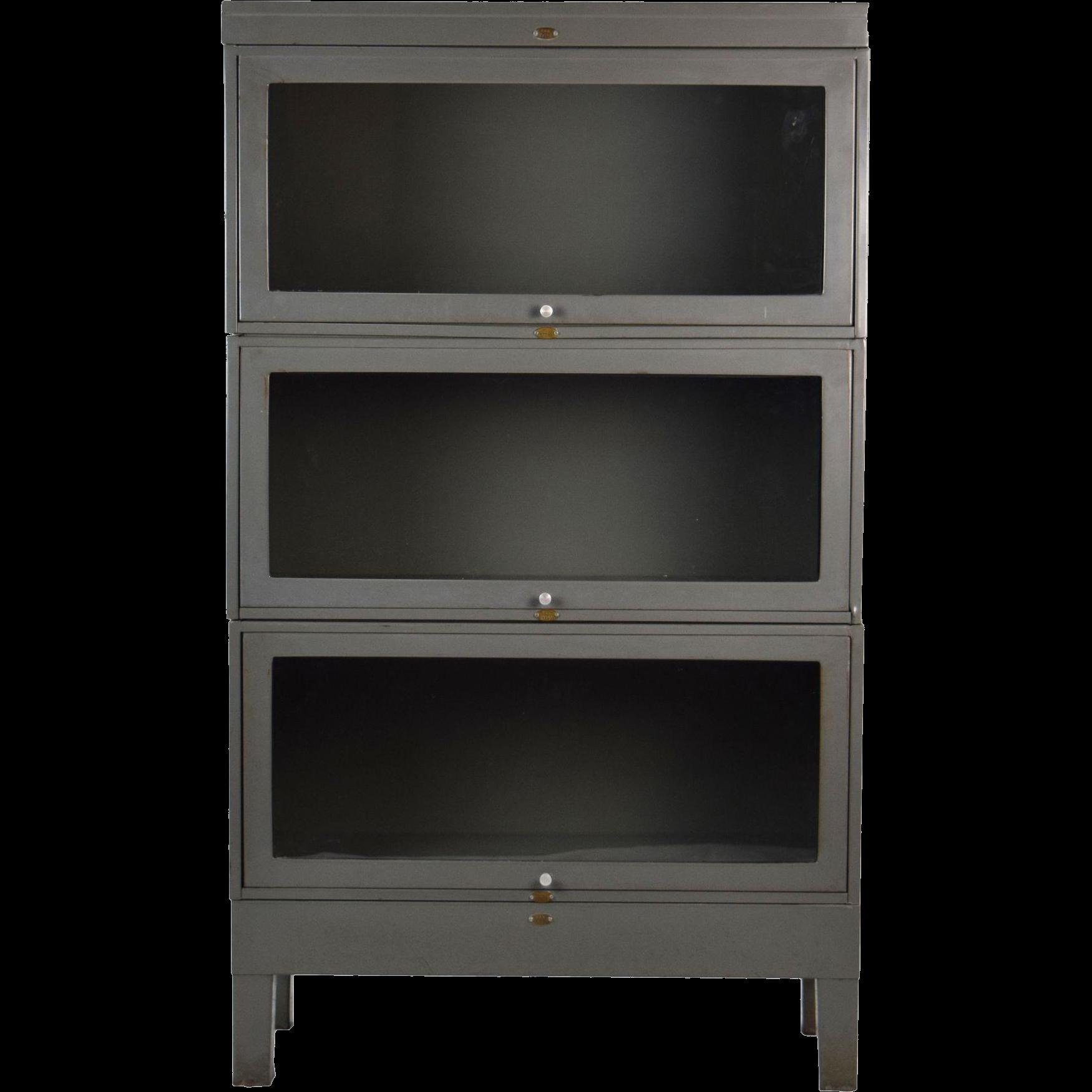 vintage industrial steel barrister stacking bookcase cabinet 3